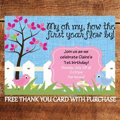 Bird First Birthday Invitation 2nd Birthday, Birthday Cards, Birthday Parties, Free Thank You Cards, Bird Theme, First Birthday Invitations, First Birthdays, Turning, Preschool