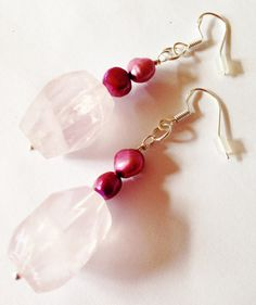 Genuine Rose Quartz and Pearl Earrings,Pink Earrings,Beaded Earrings,Sterling Silver,Womens Earrings,Plum,Gemstone,Gift for Her,Handmade
