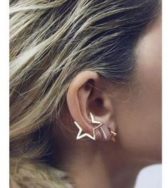 earings big on sale at reasonable prices, buy Gold Punk Style Clip Star Earrings Ear Cuff pendientes mujer fake piercing aros Stud Earring For Women Brinco xogar Wholesale from mobile site on Aliexpress Now! Cuff Earrings, Star Earrings, Clip On Earrings, Cuff Jewelry, Star Jewelry, Fine Jewelry, Silver Earrings, Stylish Jewelry, Ring Necklace