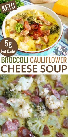 Low Carb Soup Recipes, Beef Recipes, Cooking Recipes, Recipes Dinner, Yummy Recipes, Yummy Food, Broccoli Cauliflower Soup, Cauliflower Cheese Casserole, Keto Broccoli Cheese Soup