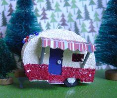 putz vintage style paper village patriotic camper trailer
