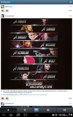 Once Upon A Time Captian Hook, Emma, David, Rumpelstiltskin, Red Ridding Hood, Snow White and Rigina