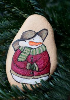 Vintage Style Snowman Hand Painted on Beach Rock
