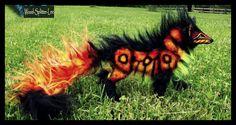 --SOLD--Fully Hand Made Poseable FIRE WOLF! by Wood-Splitter-Lee.deviantart.com on @DeviantArt
