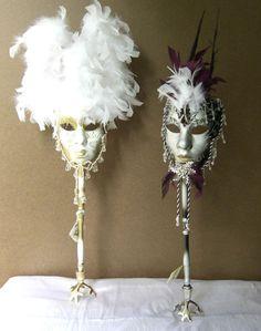Classy Venetian Masquerade Centerpiece Ideas – Any Suggestions??? - Weddingbee Masquerade Party Centerpieces, Masquerade Party Decorations, Masquerade Ball Party, Mardi Gras Centerpieces, Feather Centerpieces, Masquerade Theme, Masquerade Wedding, Mardi Gras Decorations, Halloween Masquerade