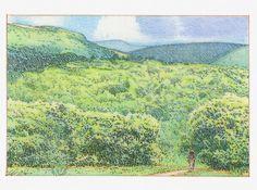 Bohlin Cywinski Jackson | Skylark Conceptual Architecture, Elevation Drawing, Skylark, Blue Ridge Mountains, Landscape, Pencil, Architectural Presentation, Painting, Outdoor