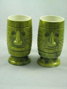Vintage set of Tiki Mugs Green Tiki Mugs by BlackBirdVintiques