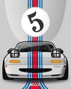 Promo image taking classic race colours and applying the to a MX5 Miata. (Martini)
