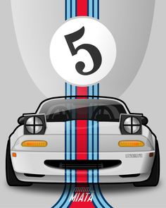 Promo image taking classic race colours and applying the to a MX5 Miata. (Martini)