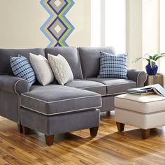 Greenwich Flip Flop Chaise--Sectional can turn from a left arm to a right arm chaise by swapping the long cushion with a seat cushion and sliding the ottoman to the opposite side.