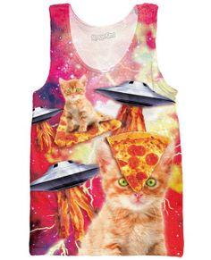 Bacon Pizza Space Cats Tank Top @hattiepants Yasss @elizabethgrace_