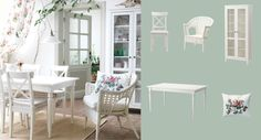 INGATORP extendable table seats 4-6 with INGOLF solid wood chairs and FINNTORP rattan chair all in white
