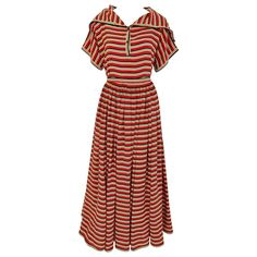 1970s Vintage GEOFFREY BEENE Red, Black and Orange Striped Silk Blouse and Skirt 1