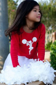 Little Cheerleader Nostalgic Graphic Tee - Classic Red with White. $22.00, via Etsy.