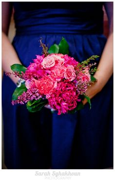 Navy and fushia wedding in Stillwater, MN by Sarah Syhakhoun Photography love the pink and blue pop!!!!!!