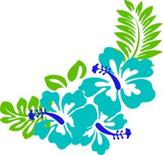 tropical leaves clipart | Blue Green Tropical Flowers clip art