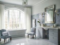 The Enchanted Home Luxury Interior Design, Bathroom Interior Design, Interior Ideas, Classic Baths, Classic Bathroom, White Bathroom, Small Bathroom, Serene Bathroom, Light Bathroom