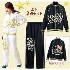 Hello Kitty Logo Parka Bottom Suit Hoodie Jersey Sweat Set Sanrio From Japan