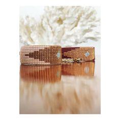 Carmen Salvador - Woman Beaded Bracelet DIAMOND, Pale pink, bronze and light blue $56.00