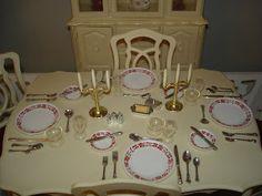 Sindy Doll dining room set closeup