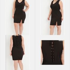 Forever 21 Plus Sleeveless Shift Dress Size 3X in Black.  A sleeveless shift with a V-neckline and a lace-up back.  Partially lined, knit. Shell: 88% polyester, 12% spandex; Lining: 100% polyester.  Great condition. Forever 21 Dresses
