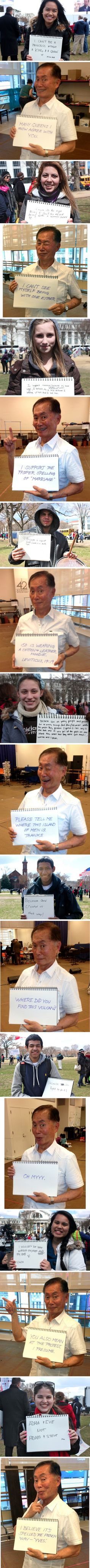 "George Takei responds to ""traditional"" marriage fans. What a boss."