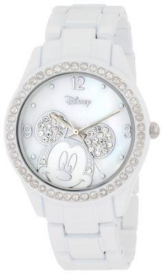 Disney Women's MK2106 Mickey Mouse Rhinestone Accent Spray White Bracelet Watch, (watches, disney, mickey mouse watch, casual watch, disney watches and jewelry, bling, minnie mouse watch, pink, womens minnie, wrist watches)