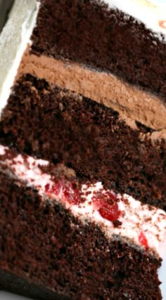 Black Forest Cake ~ Three layers of delicious chocolate cake sandwiched together with a layer of rich chocolate filling and another layer of sweet and glorious cherry filling.
