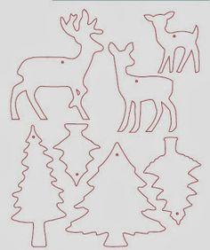 navidad con patrones: Renos Navideños Christmas Stencils, Christmas Templates, Christmas Door Decorations, Felt Christmas Ornaments, Christmas Worksheets, Christmas Printables, Christmas Design, Christmas Crafts, Fabric Postcards