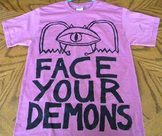 face your demons t-shirt (dark pink/rose, adult medium)