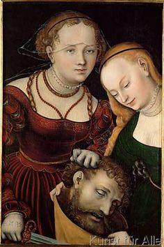 Lucas Cranach der Ältere - Judith mit dem Haupt des Holofernes und einer Dienerin
