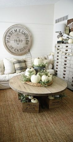 good small living room, craft storage in shelves or just needed household storage but hidden in a practical way.Neutral Fall home decor sources - Rustic neutral cottage fall decor Decor, Retro Home Decor, Interior, Autumn Home, Neutral Fall Decor, Decor Inspiration, Home Decor, Decorating Your Home, White Pumpkin Decor