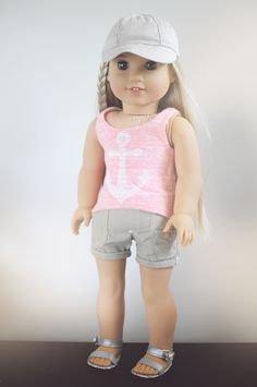 Tank by Royal Doll Boutique Shorts by Unending Treasures Hat by Piper and Phoebe Sandals by Modern Doll World #americangirldoll