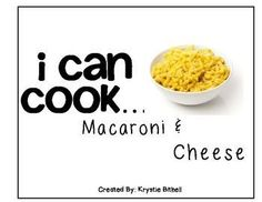 "$4.  Visual Recipe for making Macaroni and Cheese, symbol supported text and single step's per page allows students to cook independently!   Great for any vocational or life skills class.  Would even be a great ""use at home"" activity.  Download at:  https://www.teacherspayteachers.com/Product/Cooking-Visual-Recipe-Macaroni-and-Cheese-Special-Education-Editable-SymbolStix-1471435"