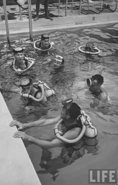 Astronauts skin diving in officers pool. Location: Cape Canaveral, FL, US Date taken: August 1959 Photographer: Ralph Morse Space Astronauts, Nasa Astronauts, Gus Grissom, Project Mercury, John Glenn, Space Boy, Space Projects, Cape Canaveral, Vintage Space