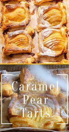Pear Dessert Recipes, Pear Recipes, Fun Desserts, Mexican Food Recipes, Baking Recipes, Delicious Desserts, Apple Turnover Recipe, Turnover Recipes, Caramel Pears