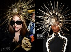 Lady Gaga in Swarovski Star Hat by Philip Treacy leaving her FAME fragrance launch at Harrods