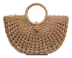 Diy Crafts - Half Moon Hand Straw Rattan Braided Woven Tote Bag Bohemian Tote Summer Beach Bags Hollow Handbag For Women Female Handbags Tote Crotchet Bags, Knitted Bags, Rattan, Diy Handbag, Macrame Bag, Basket Bag, Crochet Handbags, Summer Bags, Tote Handbags