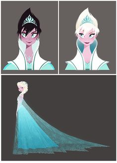 Brittney Lee The images  above illustrate the transformation in Elsa's silhouette and palette.