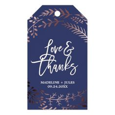 "Elegant Rose Gold and Navy ""Love & Thanks"" Wedding Gift Tags"