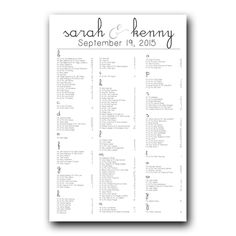 Printable Wedding Seating Chart Black White Reception Alphabetical Calligraphy Type