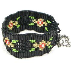 Black and Gold Cherokee Rose Beaded Bracelet