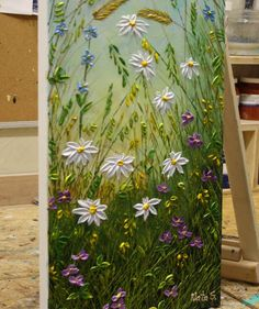Original abstract textured wildflower painting on canvas created by Nata, vertical art painting for your home decor and perfect gift idea.  Title: Daisies  size: 36 x 12 MEDIUM: Acrylic, Impasto  CANVAS: 0.75 Stretched Wrapped Canvas, the sides painted in black.  A final coat of high quality varnish has been applied to protect the surface of this painting.   SIGNATURE: A signed Certificate Of Authenticity will be included with the painting.   SHIPPING: Packages are mailed within 1-2 days…