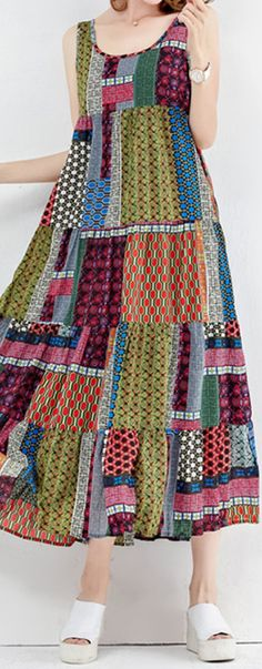 US$ 25.20 Gracila Bohemian Patchwork Sleeveless O-Neck Long Maxi Dresses