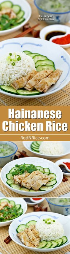 Homemade Hainanese Chicken Rice served with silky smooth poached chicken, thinly sliced cucumber, and garlic chili sauce. It is so simple yet so delicious.   RotiNRice.com