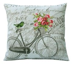 Aqua Backround Vintage Bike Pink Roses Bird on French Document or or or Inch Pillow Cover. via Etsy. Burlap Fabric, Canvas Fabric, Fabric Dye, Stencil, Fabric Envelope, Shabby, Sewing Pillows, Pillow Forms, Color Rosa