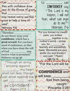 Printable Bible Verse Cards to Personalize on Confidence@FaithFilledFoodforMoms #Bible #printables #Jesus