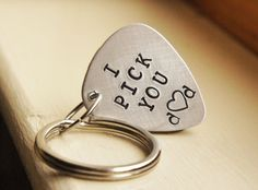 Custom Guitar Pick Keychain - Aluminum Personalized Pick - Customized music lovers Gift for Him - Fathers Day Grooms Gift. $23.00, via Etsy.