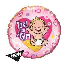 "Yes! I'm a Girl 18"" Mylar Balloon"