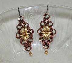 Dangling earrings chainmaille earrings Swarovski by jewelrybyirina, $18.50